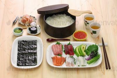 hand rolled temaki sushi set,  japanese food