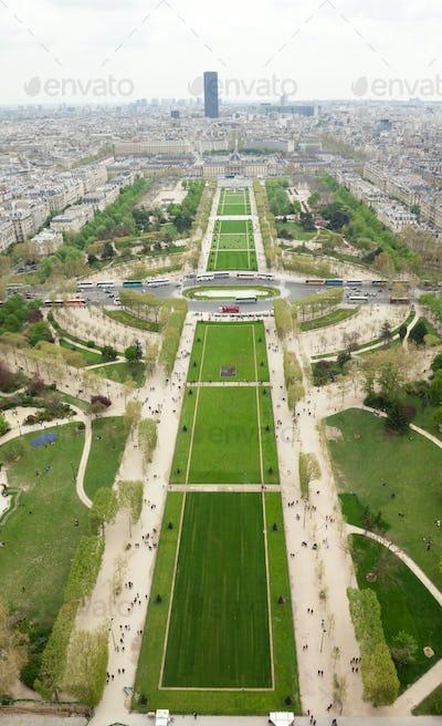 Aerial view of Parc du Champs de Mars in Paris