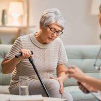 Elderly patient and caregiver