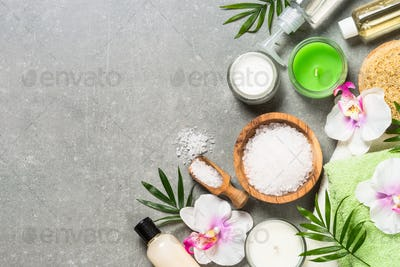 Spa product composition on stone table