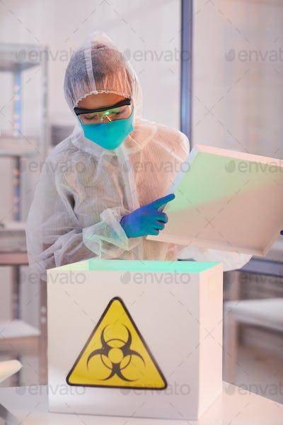 Worker in Bio Hazard Laboratory