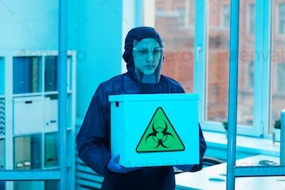 Bio Lab Worker Carrying Hazardous Waste