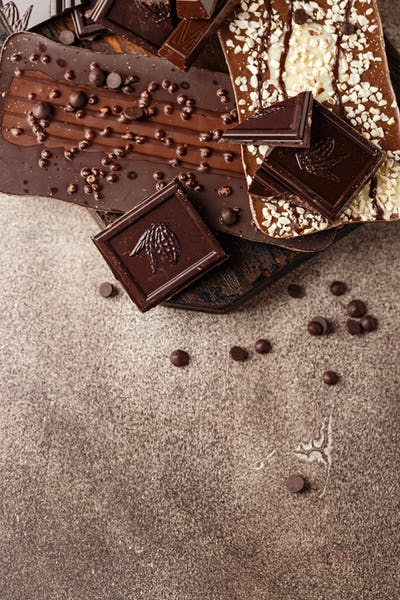 Close-up of chocolate pieces