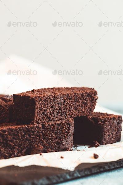 Homemade dark chocolate fudge brownies cake