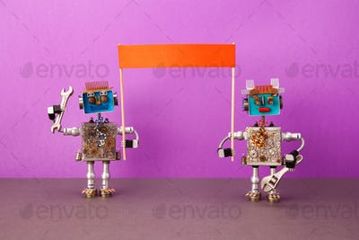 Two demonstrator robots organized a picket rally to protect their rights and interests
