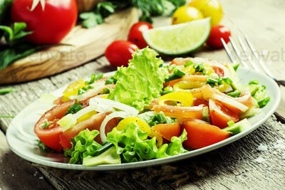 Salad with salted salmon and vegetables