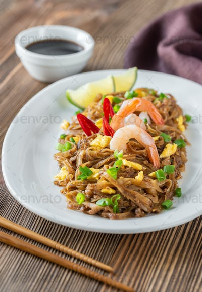 Dish of Pad Thai - Thai fried rice noodles