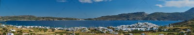 Panoramic view of Plaka village with traditional Greek church. Milos island, Greece