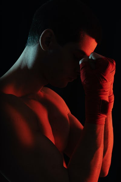 Fighter close up portrait before fight
