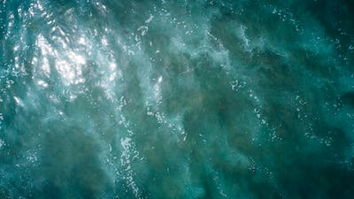 Aerial view of giant sea waves
