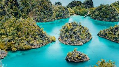 Pianemo Islands, Blue Lagoon with Green karst limestone Rocks, Raja Ampat, West Papua. Indonesia
