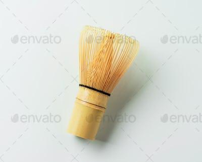Bamboo Matcha Tea Whisk Isolated on white
