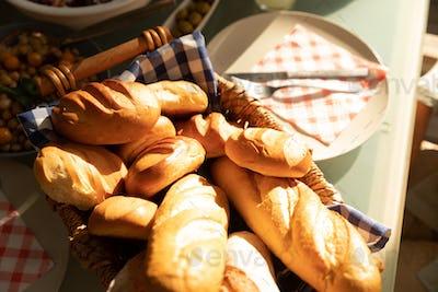 Bread on an outdoor dinner table