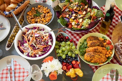 Food on an outdoor dinner table