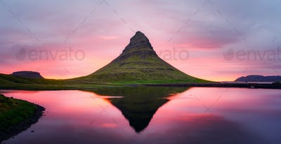 Panorama with Kirkjufell mountain