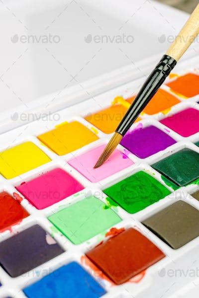 Artists Paint Brush and Paints