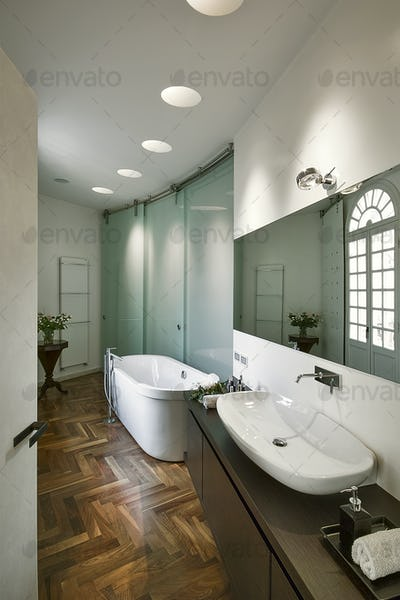 Interiors of the Bathroom in a Modern Apartment