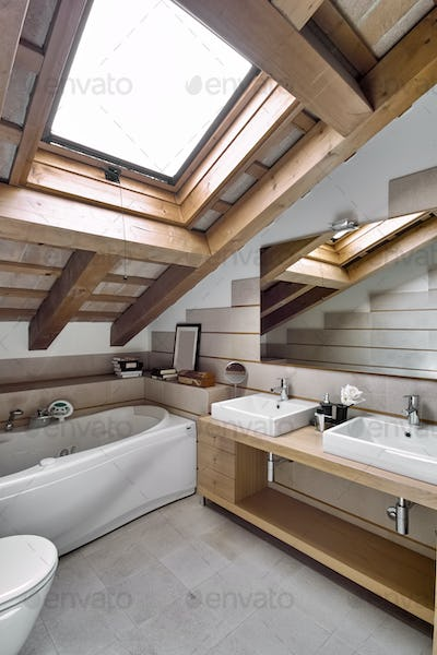 Interiors of the Bathroom in the Attic