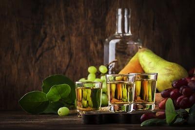 Rakija, raki or rakia - Balkan hard alcoholic drink or brandy from fermented fruits