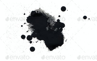 Black ink blot. Isolated on white.
