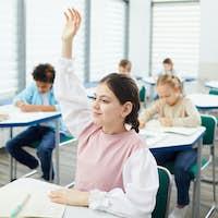 Female Student Raising Hand In Class