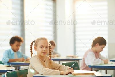 Beautiful Blond Schoolgirl During Classes