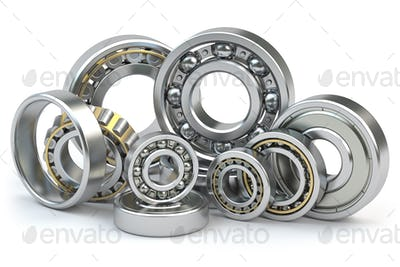 Bearings of different types isolated on white background.