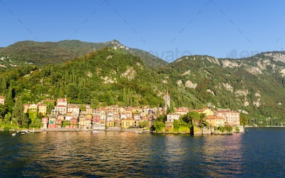 The shore of Varenna from Lake Como