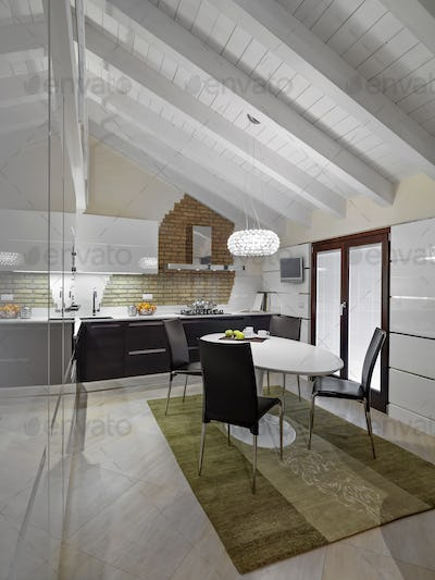 Interiors of the Modern Kitchen in the Attic