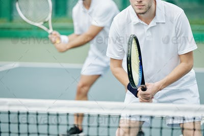 Tennis player concentrated on game