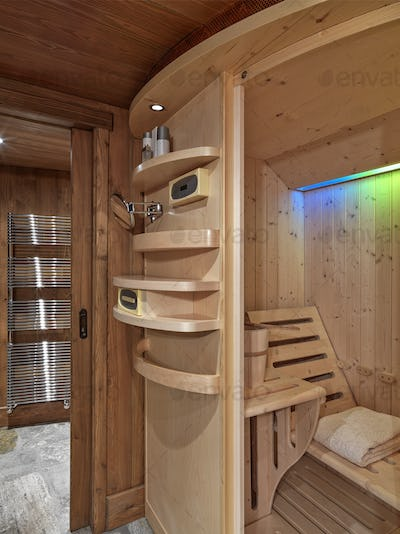Interiors of the Rustic Bathroom with Sauna