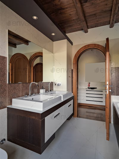 Interior of the Modern Bathroom