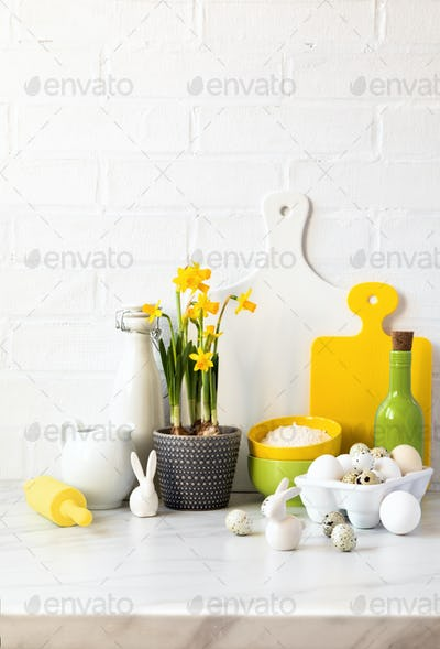 Easter baking background.Concept of cooking traditional festive food