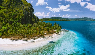 Epic Pinagbuyutan Island, El Nido, Palawan, Philippines. Aerial drone view of remote secluded