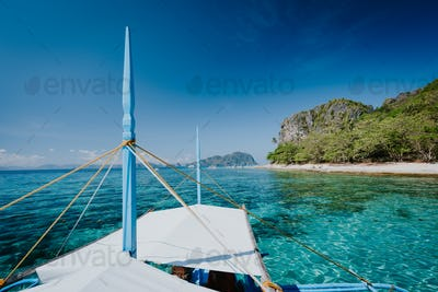 Boat trip to tropical islands El Nido, Palawan, Philippines. Discover exploring unique nature island