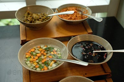 various kinds of sambal and pickles
