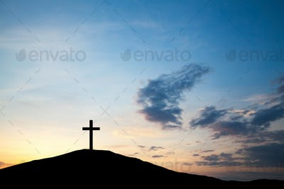 The cross on the hill, Jesus Christ from the Bible. Easter, Religion. Salvation of sins, sacrifice