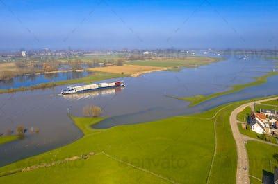Cargo vessel River Lek aerial view