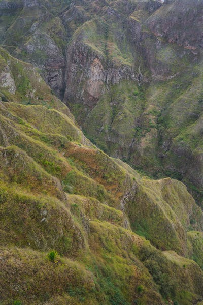 Santo Antao, Cape Verde. Mountain ridge pattern of canyon with steep cliff and winding riverbed with