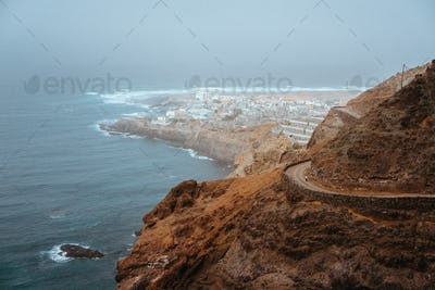 Ponta do Sol - a town in the island of Santo Antao, Cape Verde. Many new apartment building for