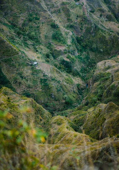 Santo Antao, Cape Verde. Top view from Delgadinho mountain ridge down the valley with local
