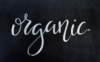 Chalkboard with ORGANIC lettering