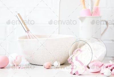 Easter  Baking background.Kitchen utensils