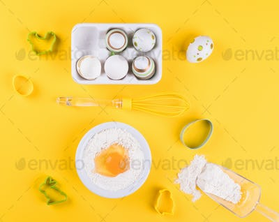 Easter Baking Cooking Ingredients. Bakery concept.
