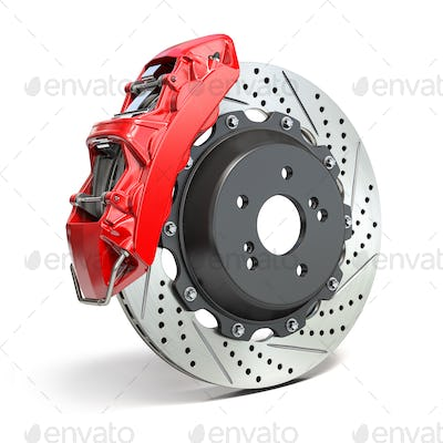 Braking system. Car brake disk with caliper isolated on white background.