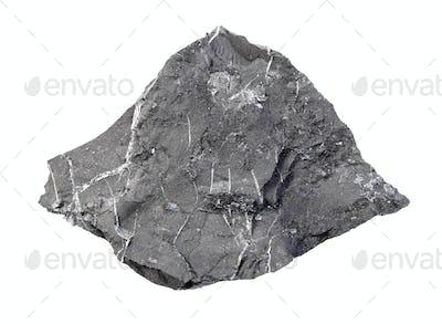 unpolished Shungite shale rock isolated on white