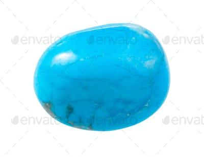 tumbled Turquenite gemstone isolated on white