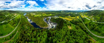 Ristafallet waterfall in the western part of Jamtland, Sweden.
