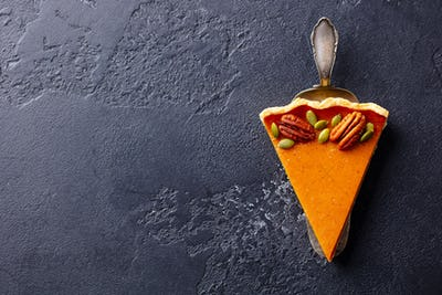 Pumpkin Pie Piece. Black Slate Background. Copy Space. Top View.