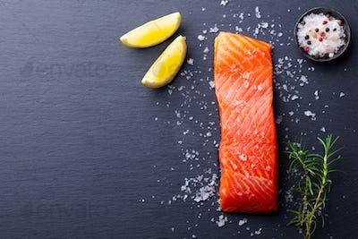 Salmon Fillet with Sea Salt, Lemon on Slate Dark Background. Copy Space. Top View.